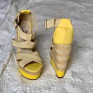 Yellow and nude Strap wedges